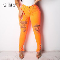 SILLIKE Ripped Hole High Waist Pencil Pants Women Sexy Hollow Out Bodycon Denim Pants 2019 Pink Casual Skinny Trousers Leggings