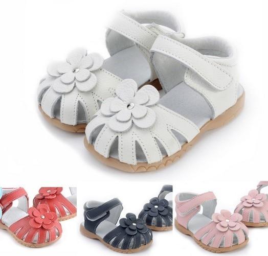91ee444b5 New Summer Baby Girl s Sandals Children Girl White flowers Leather sandals