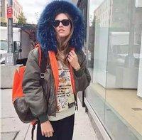 2017 Mens real blue or white fur collar down orange bomber jacket winter hooded parka coats for winter bomber jacket
