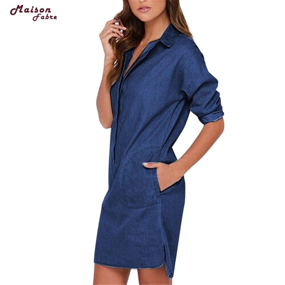 <font><b>Maison</b></font> Fabre Womens Casual Lapel Blouse Ladies Long Sleeve Denim <font><b>Jeans</b></font> T Shirt Dress Tops G5