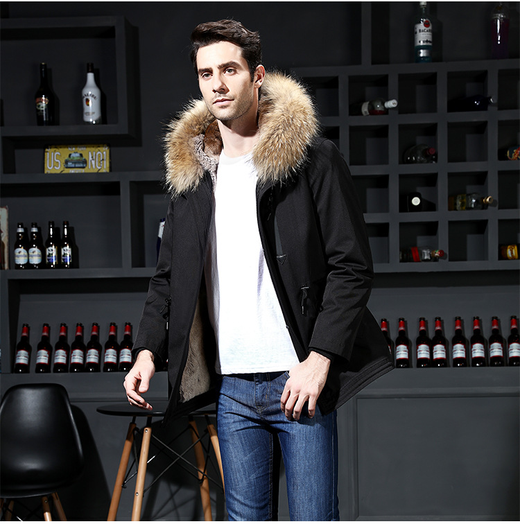 15  2018 new winter men's jacket high quality fur collar coats windproof warm jackets man casual coat clothing