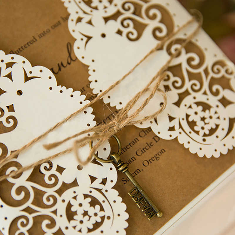 50 Kit White Laser Cut Wedding Invitations Greeting Cards With Envelope Vintage Paper Flower Convite De Casamento Thank You Card