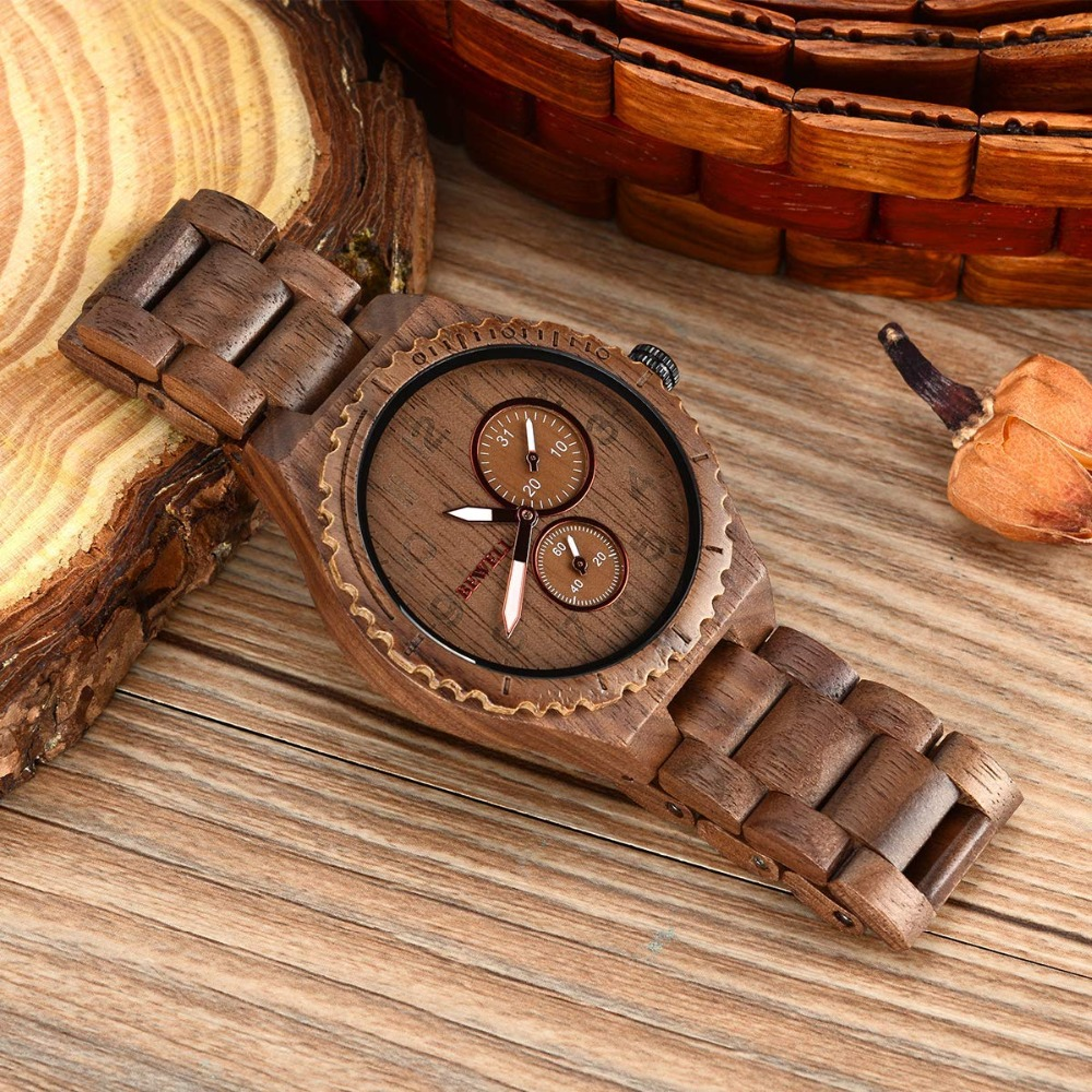 Bewell Mens wooden Watches Quartz Top Brand Cusual Wood Watch Men Date Luminous Vintage Retro Handcraft Wood Wristwatches W154A