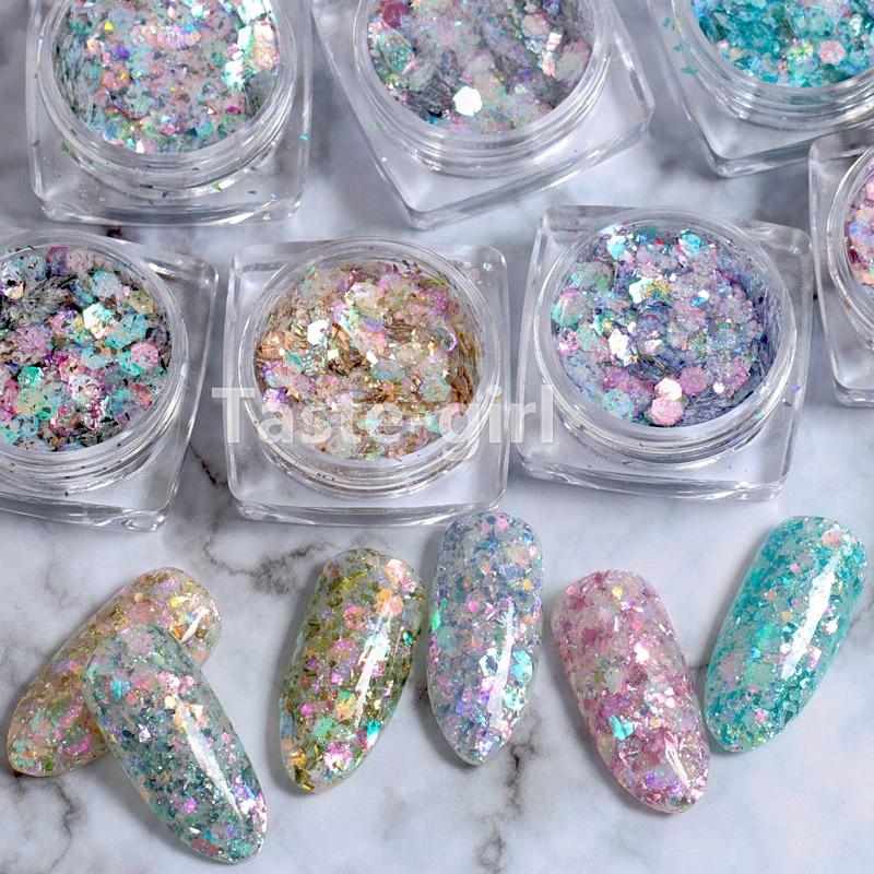 Paillettes Sequins-Powder Decoration Nail-Glitter Manicure Mermaid-Flake Hexagon-Holo