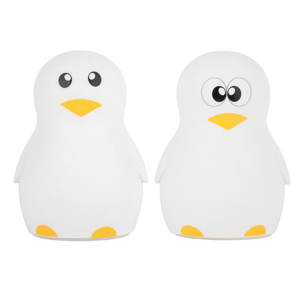 Cute Penguin Night Light Adjustable Colorful LED Desktop Light Silicone USB Charging Lam ...