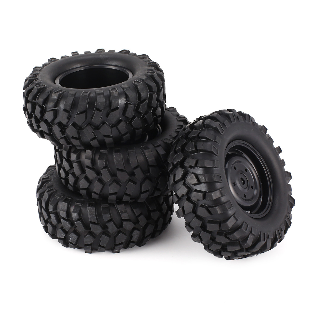 4pcs 96mm 1.9 Inch Rubber Wheel Rim and Tire Beadlock for 1/10 RC Crawler Car HSP Redcat Traxxas AXIAL SCX10 90046 RC4WD D90(China)