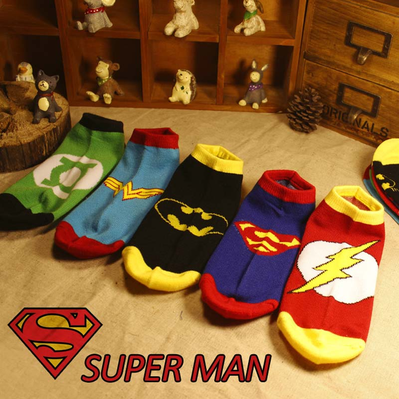 Marvel Comics Heroes General   Socks   Cartoon Superman Batman Boat   Socks   High Temperature Stitching Pattern Non-slip Casual S-8