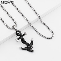 MCSAYS Hip Hop Jewelry Iced Out Full Crystal Snake On Anchor Pendant Box Chain Mens Fashion
