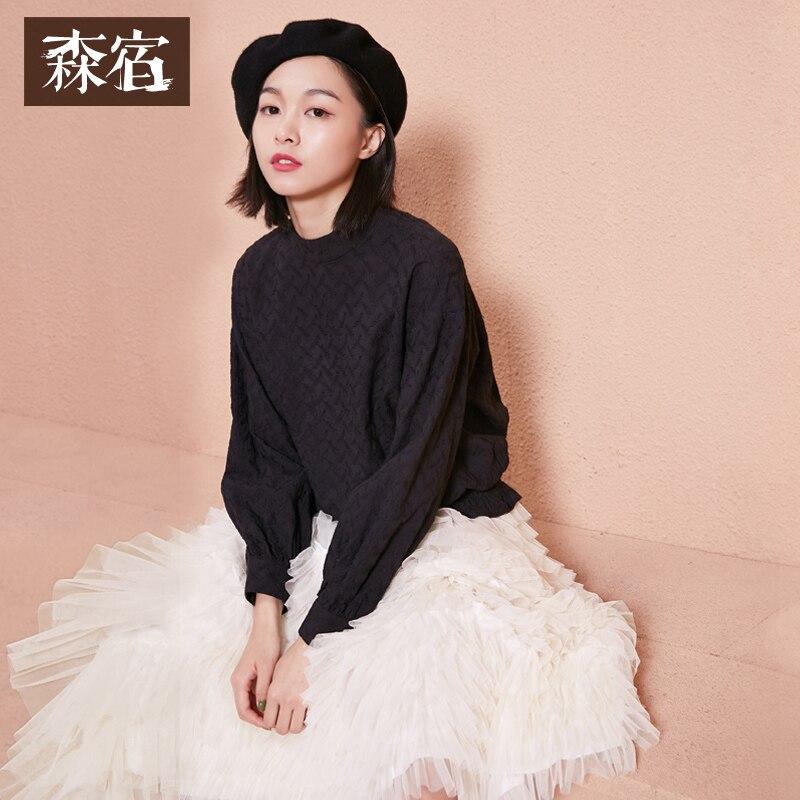 Motif Manches Black Femmes Couleur Solide Roulé shirts Dentelle Printemps Tops Col Feuilles Samatree T white Longues Blouses Femelle UwvqF0