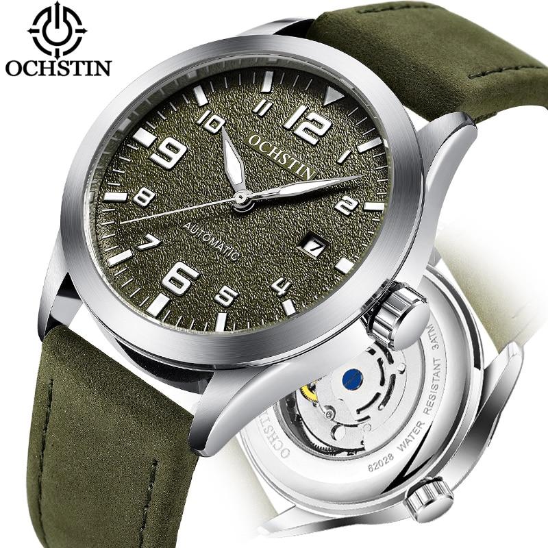 Luxury Top Brand OCHSTIN Automatic Watch Men Waterproof Date Sport Men Leather Mechanical Wrist Watch Male Clock Fashion Relogio