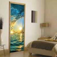 HAOCHU 2 개 3D 문 스티커 모조 바다 웨이브 일몰 그림 DIY 데칼 벽화 쓰자 접착 벽 아트 장식 그림 PVC