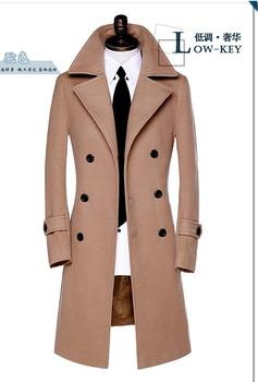 Free shipping ! Winter double-breasted wool coat mens trench coats slim fashion casual coat men overcoat big size S - 9XL brand children s clothing in the big girl wool coat autumn and winter children s long section of the red double breasted trench