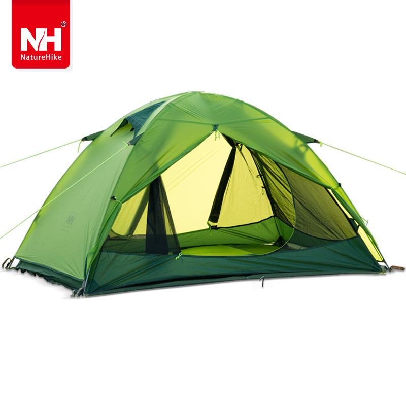 DHL Naturehike two person Windproof Waterproof Anti UV Double Layer Tent 20D Silicone Ultralight Outdoor Hiking Camping Tent high quality outdoor 2 person camping tent double layer aluminum rod ultralight tent with snow skirt oneroad windsnow 2 plus