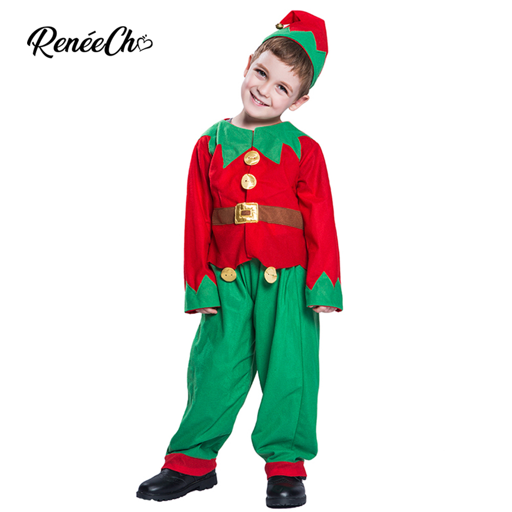 Reneecho 2018 Christmas Costume for Kids Santa Claus Uniform Boys Toddler Cosplay Children Holiday Halloween Outfit Hat Suit