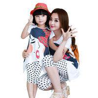 Summer Mom Daughter Clothing Set Children's Cotton Clothing Family Matching Cloth Girls Sets Cartoon Shirt+Dot Pants 2pcs Set