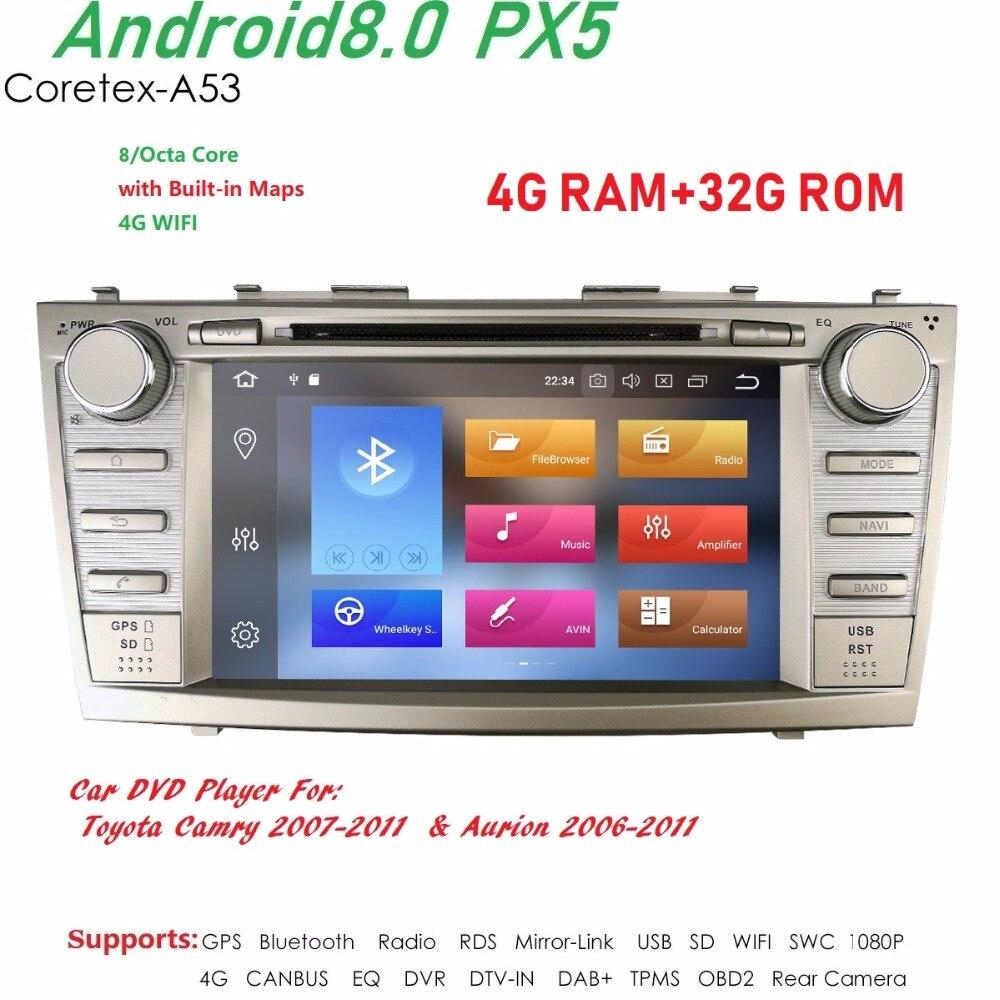 2 din PX5/4G + 32G/Android8.0/8 Core 4 Core/Android7.1/8.1 rádio do carro DVD GPS de Navegação Multimídia para Toyota Camry/Aurion 2007-2011