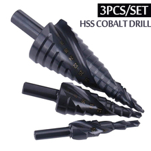 3PCS/SET 4-32MM HSS Cobalt Step Stepped Drill Bit Set Nitrogen High Speed Steel Spiral For Metal Cone Triangle Shank Hole цены
