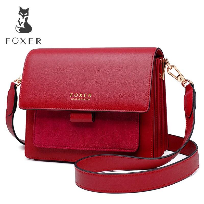 FOXER Women Crossbody Bag Shoulder Strap Bags Woman Shoulder Bag Lady Flap Female Messenger Bag Valentine