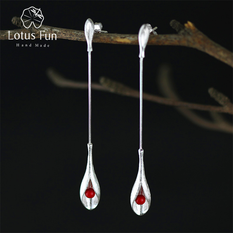 все цены на Lotus Fun Real 925 Sterling Silver Natural Stone Handmade Fine Jewelry Vintage Elegant Long Dangle Earrings for Women Brincos