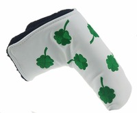 Clove Shamrock Embroidery Golf Putter Club Head cover PU Leather L style Putter Protective Cover