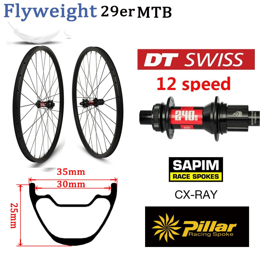 70bfd100698 355g 29er MTB Rim DT Swiss 240 MTB 12 Speed Hub Mountain Bike Carbon Wheel  Tubeless Ready XC Wheelset Hookless