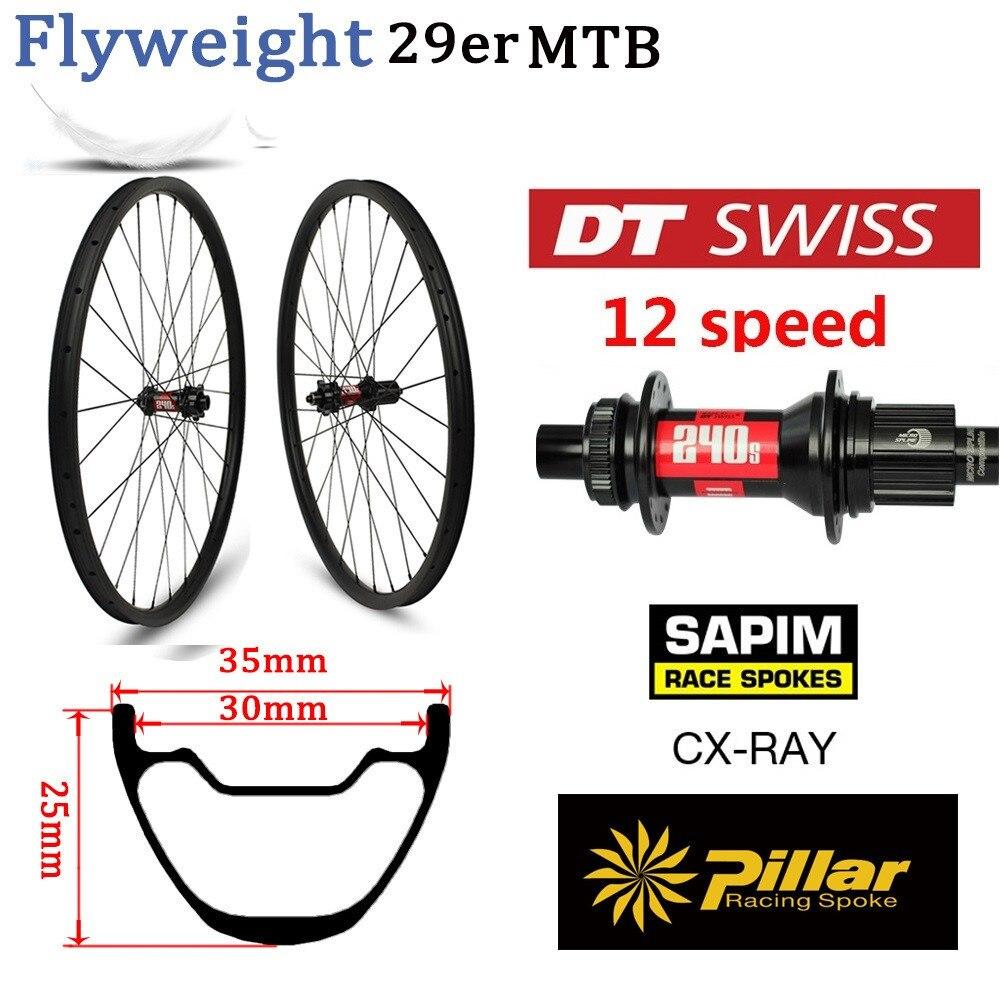 355g 29er jante vtt DT Swiss 240 vtt 12 vitesses moyeu VTT roue en carbone Tubeless prêt XC roues sans crochet