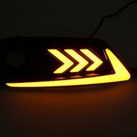 2Pcs White Amber 2 Colors LED DRL Daytime Running Lamps Turn Signal Fog Lights For Honda for Civic 10th 2016 2018