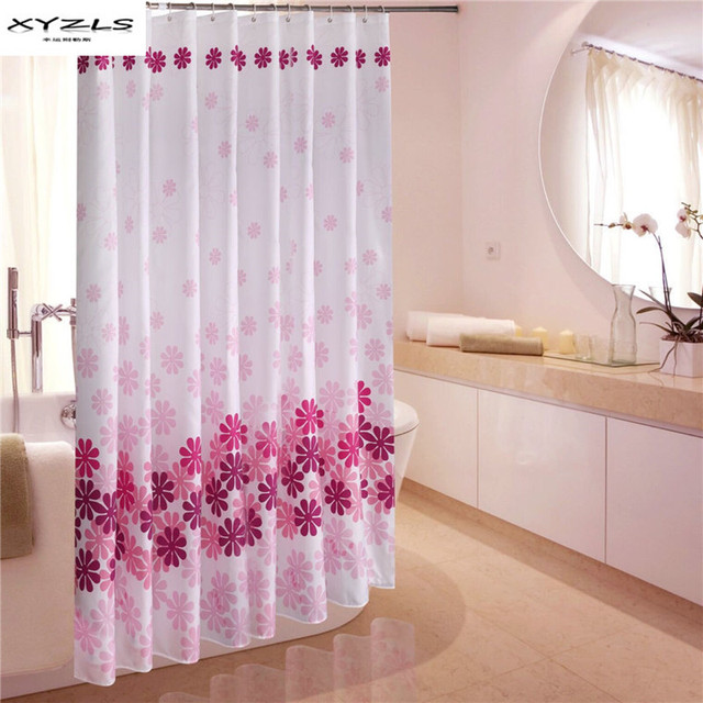 XYZLS Chinese Style Peach Blossom Printed Shower Curtain Eco Friendly Waterproof Bathroom Curtains Polyester