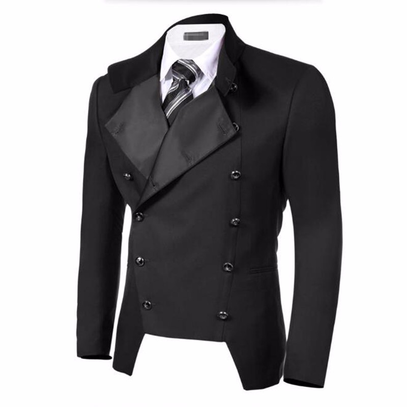 2.1Bkack men suits jacket double breasted lapel formal business suits jacket custom made groom wedding tuxedos jacket