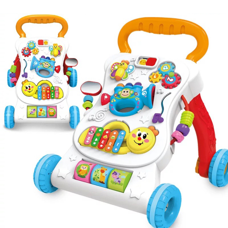 Baby Four Wheel Balance First Steps Car Early Educational Music Adjustable Baby Walker Kids Toddler Trolley Sit-to-Stand Walker lion cartoon walker stroller multifunctional baby music walker kids toddler stroller lions trolley children toys 1 3 years old