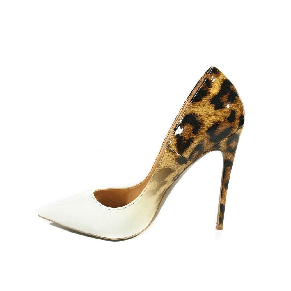 Большой Размеры элегантный мелкой натуральная кожа внутри Леопардовый женские вечерние туфли Для женщин Обувь на высоких каблуках