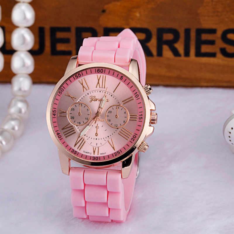 2019 ז 'נבה נשים שעונים ספרות רומית סיליקון ג' לי ג 'ל קוורץ אנלוגי שעון יד גבירותיי שעון מתנה Relogio Feminino 30X