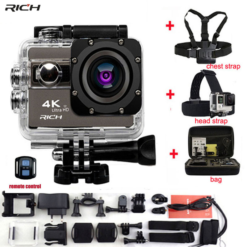 RICH Action Camera Novatek 96660 4K 24fps Wifi 2.0Screen 170 Angles Extreme Go Pro Style Waterproof 30m Sports Camera soocoo c30 sports action camera wifi 4k gyro 2 0 lcd ntk96660 30m waterproof adjustable viewing angles