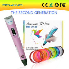 2016 DEWANG promotional magic crafting modeling stereoscopic blue 3d printing drawing pen with 20colors 5mABS filament free ship