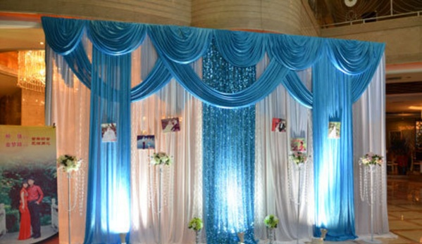 3*4m width wedding birthday party ice silk fabric sheer drapery with swag stage prop nice Drape curtain divider riedaux Backdrop