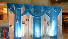 3*4m width wedding birthday party ice silk fabric sheer drapery with swag stage prop nice Drape curtain divider riedaux Backdrop(China)