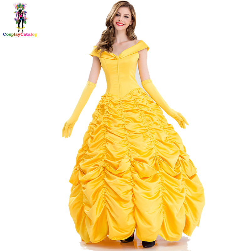 Plus Size XL XXL Beautiful Fairytale Maiden Costume Halloween Adult Sexy Women Princess Yellow Ruffle Dresses Party Costumes