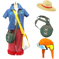 One Piece Film Strong World Monkey D Luffy Cosplay Costume full set with hat and bag