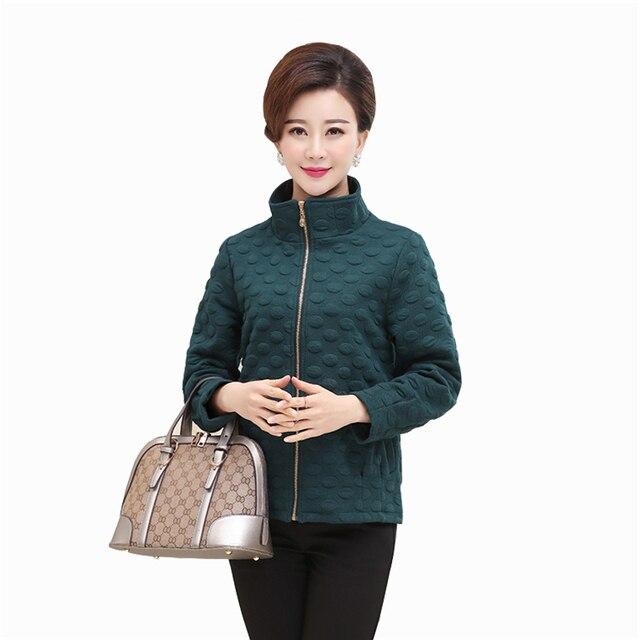 Причинные Куртки Женщины 2016 Мода Новые Прибытия Solid Пальто Плюс Размер Хлопок Молния Верхняя Одежда Jaqueta Feminina H215