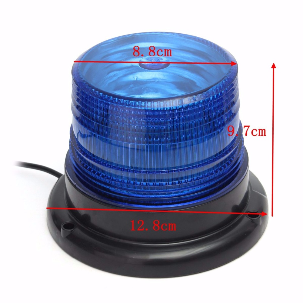 Купить с кэшбэком 12V-24V LED Flash light Car Truck Magnetic Warning Light Beacon Strobe Emergency Lamp Blue Yellow Red Circular magnetic light