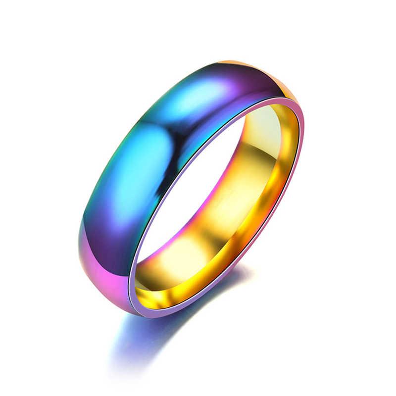 ELSEMODE 6mm 316L Stainless Steel Shiny Polished Ring Men Women Wedding Engagement Band Rings Rose Gold Silver Black Multi Color