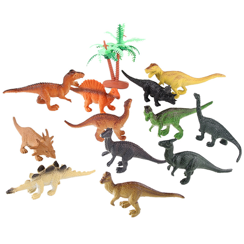 12pcs/lot Dinosaur Toy Set Plastic Play Toys Dinosaur Model Action and Figures Best Gift for Boys bwl 01 tyrannosaurus dinosaur skeleton model excavation archaeology toy kit white