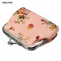 AUAU Kadın Güller Çiçek Kumaş Klip Mini Küçük Para Cebi Cüzdan Çanta Debriyaj