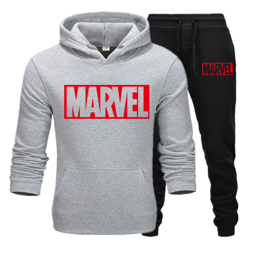 New 2019 MARVEL Print Tracksuit Men Thermal Men Sportswear Sets Cotton Hoodie+Pants Sporting Suit Casual Sweatshirts Sport Suit