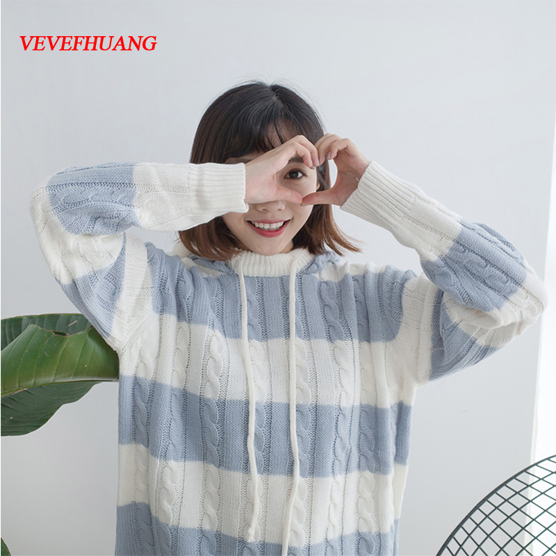 Women Striped Hooded Sweater Head Loose Sweater All-Match Pink Lovely And Sweet Sweater