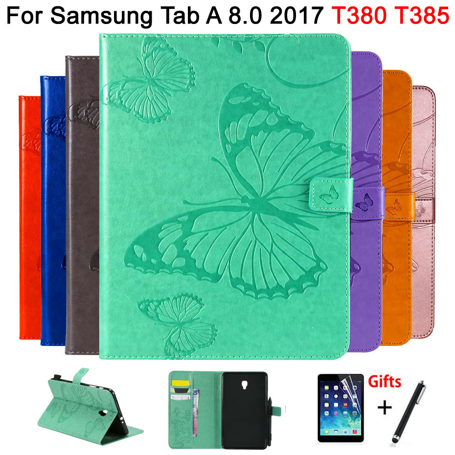 Leather Case For Samsung Galaxy Tab A 8.0 SM-T380 T380 T385 2017 8.0 Inch Cover 3D Butterfly Embossed Pattern Shell