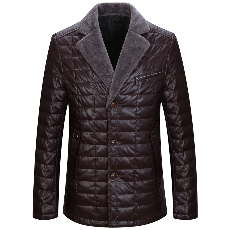 Winter Fall Mens Wine Red Black Fleece Suit Collar Thick Warm Padded Blazer Coat , Autumn Man Slim 3xl 4xl Pu Leather Blazers