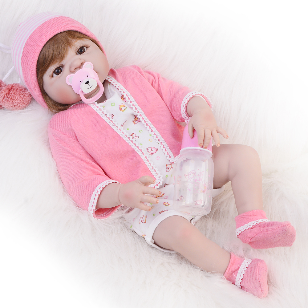 23 Inch Lifelike Full Silicone Vinyl Reborn Baby Doll 57 Cm Newborn Girl Babies Toy Fashion Realistic Reborn Bonecas Kid Gifts cute truly newborn doll 23 inch fashion baby toy realistic full vinyl silicone babies doll handmade gift for girl reborn boneca