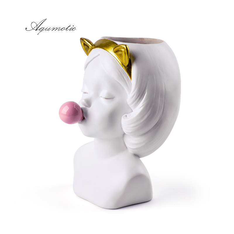 GIEMZA Girl Blowing Bubbles 1pc Head Vase Resin Hydroponics No Plants Flower Vase Decor Urban Jar