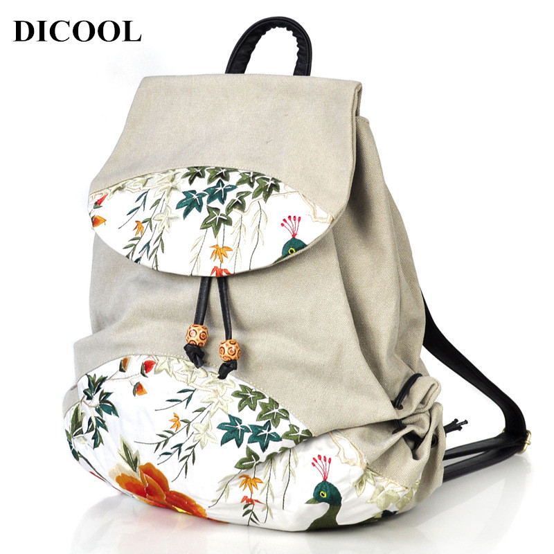 DICOOL High Quality Canvas Backpack Women Rose Embroidery Backpacks for Teenagers Women Travel Bags Mochilas Rucksack School Bag